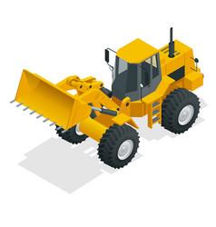 isometric yellow bulldozer vector image