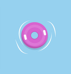 lifebuoy or lifesaver isolated pink rubber in sea vector image