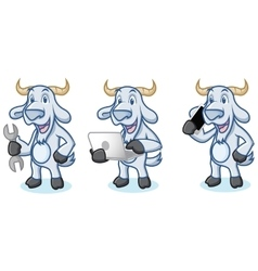 Light Blue Goat Mascot with phone vector image