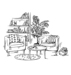 living room two armchairs with coffee teble vector image