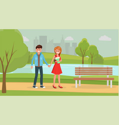 lovely couple on date flat poster vector image