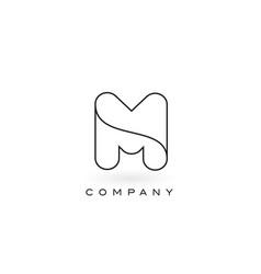 M monogram letter logo with thin black monogram vector