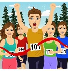 Male athlete runner winning marathon vector