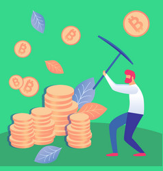 Man mining cryptocurrency flat vector