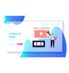 man watching video course landing page template vector image