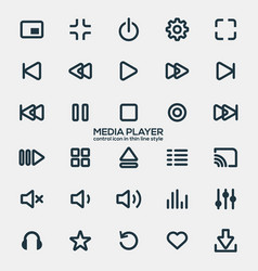 Media player icons in thin line style vector