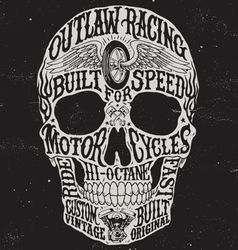 Motorcycle inspired typography skull vector