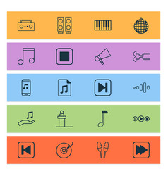 Multimedia icons set with synthesizer stop music vector