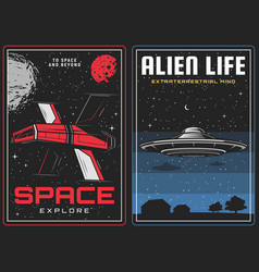 Outer space exploration alien life contact banner vector