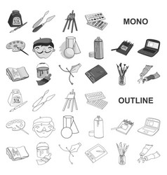 Painter and drawing monochrom icons in set vector