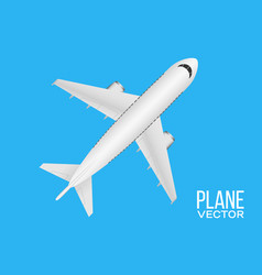 plane top view on blue background realistic vector image