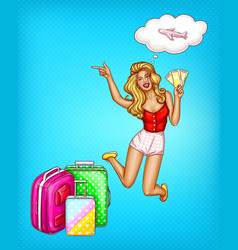 pop art girl with tickets suitcases vector image