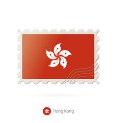 Postage stamp with image hong kong flag vector