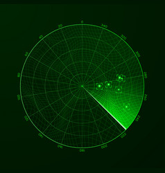 Radar blip detection of objects on the radar vector