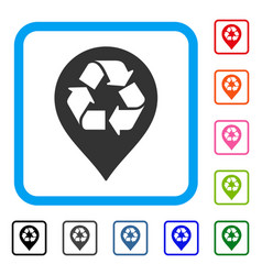 recycle map marker framed icon vector image