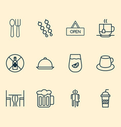 restaurant icons set with alcohol forbid tray vector image