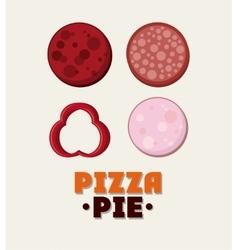 Salami ingredient of Pizza pie design vector