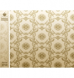 seamless flower wallpaper pattern beige vector image