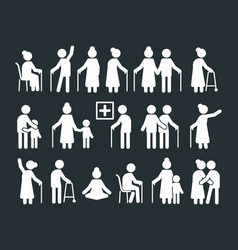 seniors pictograph elderly people standing vector image