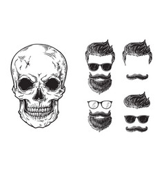 Set of bearded men faces hipsters with different vector