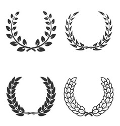 Set of laurel wreaths isolated on white vector