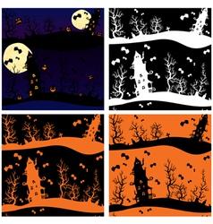 Set of seamless patterns - Halloween night mystery vector image