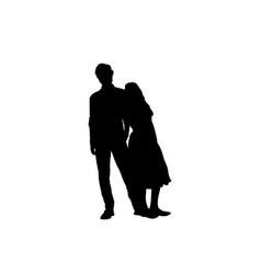 silhouette an adult brother with teenage sister vector image