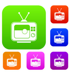soccer match on tv set color collection vector image