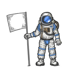 spaceman with flag engraving vector image