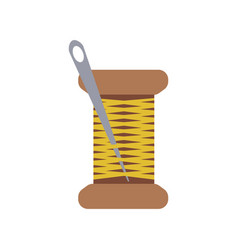 Spool yellow thread with a needle in a flat vector