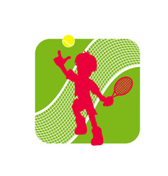 Stock tennis logo with tennis player figure vector