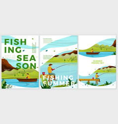 summer posters set river fishing activities vector image