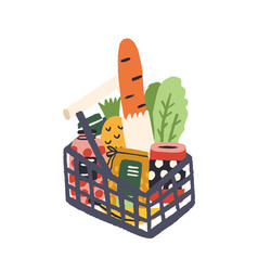 supermarket basket full fresh tasty products vector image