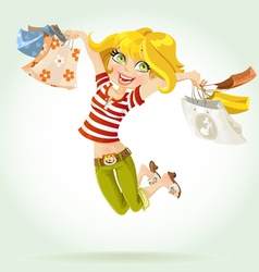 sweet girl shopaholic vector image