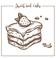 Sweets and cakes baked dessert with strawberry on vector