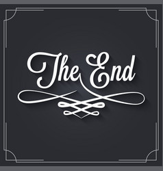 The end sign vintage movie ending frame on black vector