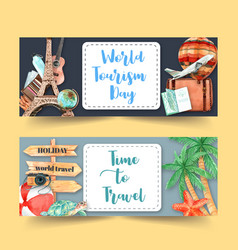 Tourism day banner design with france leaning vector