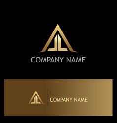 Triangle rohouse construction gold logo vector