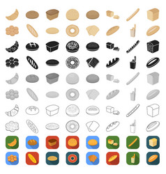 types of bread cartoon icons in set collection for vector image