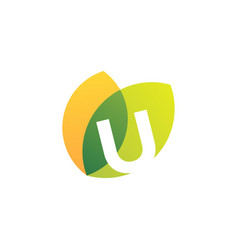 U letter leaf overlapping color logo icon vector