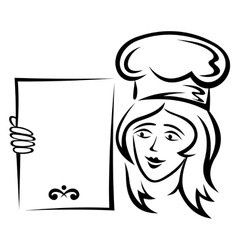 Waiter with blank menu vector image