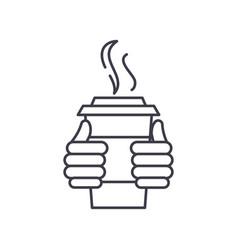 warm drink line icon concept warm drink vector image