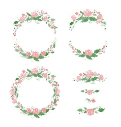 Watercolor floral frames wreath dividers vector