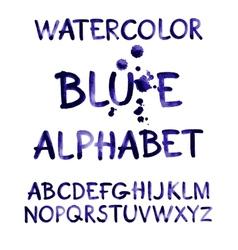 Watercolor hand written purple alphabet vector image