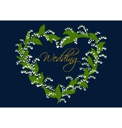 Wedding card design with lilies of the valley vector