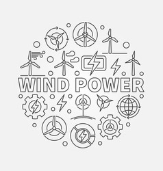Wind power outline vector