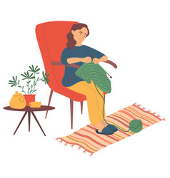 Woman knitting at home hobfemale vector