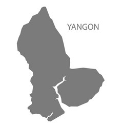 Yangon myanmar map grey vector