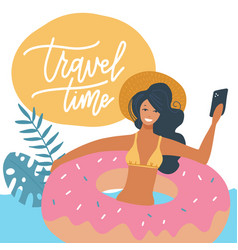 young woman in swimsuit relaxing on a rubber vector image