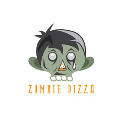 zombie cartoon face with pizza slice design vector image